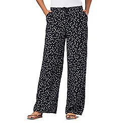 Maine New England - Navy fan print wide leg trousers