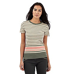 Maine New England - Beige and khaki striped top
