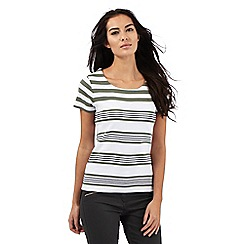 Maine New England - White and khaki striped top
