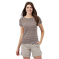 Maine New England - Taupe striped top