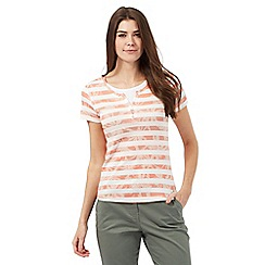 Maine New England - Dark peach floral print striped top