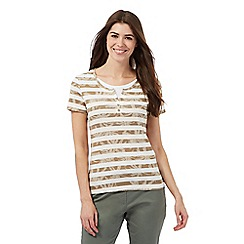 Maine New England - Beige floral print striped top