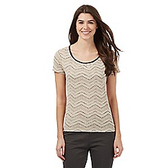 Maine New England - Beige zigzag print top