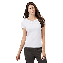 Maine New England - White pleated scoop neck top