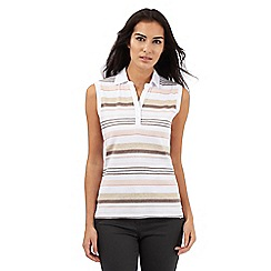 Maine New England - Multi-coloured striped print notch neck vest top
