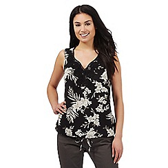 Maine New England - Black floral print lace trim top