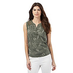 Maine New England - Khaki lace shoulder top