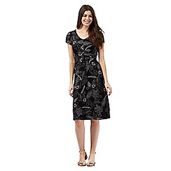 Maine New England - Black floral print jersey dress