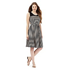 Maine New England - Black and beige striped print dress