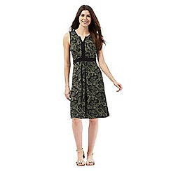 Maine New England - Khaki floral print jersey notch neck dress