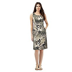 Maine New England - Khaki tropical palm print dress