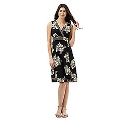 Maine New England - Black and beige floral print dress