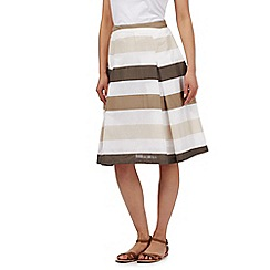 Maine New England - White block striped print pleated skirt