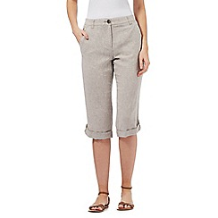 Maine New England - Taupe linen blend cropped trousers