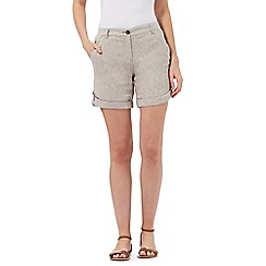Maine New England - Taupe herringbone linen blend shorts