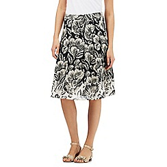 Maine New England - Black and cream floral print skirt