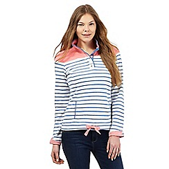 Maine New England - Light peach and white striped print sweater