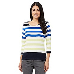Maine New England - Navy block striped top