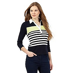 Maine New England - Navy striped print rugby shirt