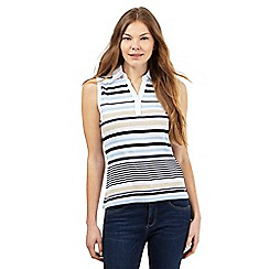 Maine New England - Light blue striped print sleeveless top