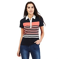 Maine New England - Navy block stripe polo shirt
