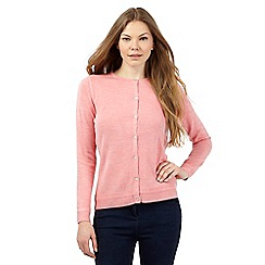 Maine New England - Light peach crew ultra soft cardigan