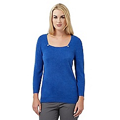 Maine New England - Blue ultra-soft square neck jumper