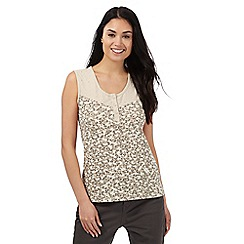Maine New England - Beige floral print lace trim vest top