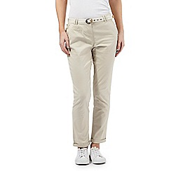 Maine New England - Beige striped belt chino trousers
