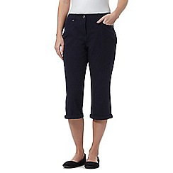 Maine New England - Navy five pocket bi-stretch cropped trousers