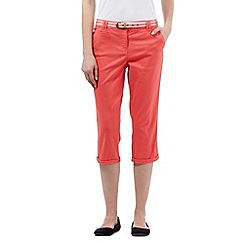 Maine New England - Peach striped belted cropped chinos