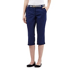 Maine New England - Navy striped belted cropped chinos