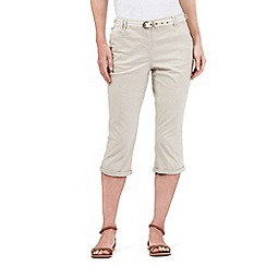 Maine New England - Beige striped belted cropped chinos