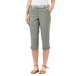 Maine New England - Khaki belted cropped chinos