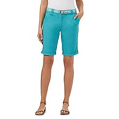 Maine New England - Turquoise striped belted chino shorts