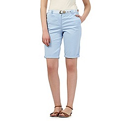 Maine New England - Light blue belted chino shorts
