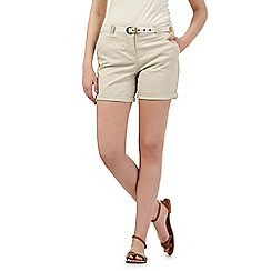 Maine New England - Beige belted chino shorts
