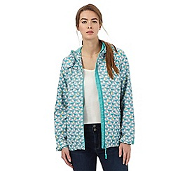 Maine New England - Turquoise boat print shower resistant hideaway jacket