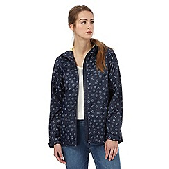 Maine New England - Navy spot print shower resistant hideaway jacket