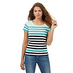 Maine New England - Turquoise striped print top