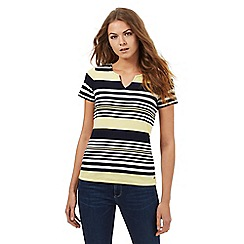 Maine New England - Multi-coloured striped print notch top