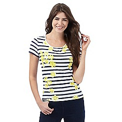 Maine New England - Dark blue daisy print striped top