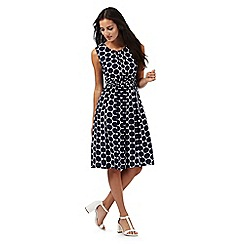 Maine New England - Navy polka dot print midi dress
