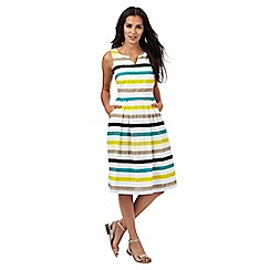 Maine New England - Multi-coloured striped print notch neck dress