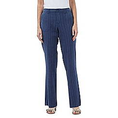 Maine New England - Dark blue textured striped trousers