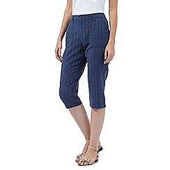 Maine New England - Dark blue striped cropped trousers