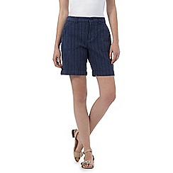 Maine New England - Dark blue textured striped shorts