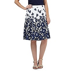 Maine New England - Navy graduated flower print A-line skirt
