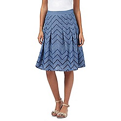 Maine New England - Blue chambray embroidered skirt