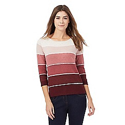 Maine New England - Dark red textured striped print jumper